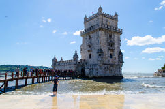 The belem tower. One of the main landmarks of Lisbon used to be a defence tower during the Age of Discoveries. Visit its terrace for perfect views Stock Photography