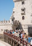 Belem tower. People standing in a queue to popular Belem tower Stock Photo