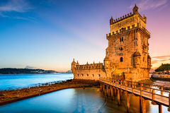 Belem Tower in Portugal. Lisbon, Portugal at Belem Tower on the Tagus River Royalty Free Stock Image