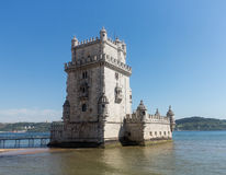 Belem tower on River Tagus near Lisbon Royalty Free Stock Photo