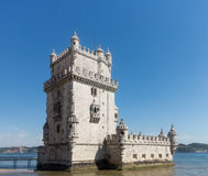 Belem tower on River Tagus near Lisbon Royalty Free Stock Images