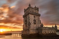 Belem Tower at sunrise, is Lisbon Portugal. On the river front Stock Image