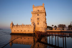 Belem Tower at Sunrise in Lisbon Royalty Free Stock Photo
