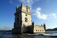 Belem Tower at Sunset on the gentle Tagus Stock Images