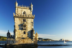 Belem Tower in sunset light Royalty Free Stock Photos