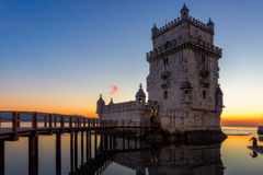 Belem Tower at sunset in Lisbon Stock Photography