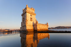 Belem Tower on a sunset. Lisbon, Portugal Royalty Free Stock Photos