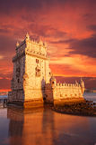 Belem Tower on a sunset,. Lisbon, Portugal Royalty Free Stock Image