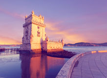 Belem Tower on a sunset. Lisbon, Portugal Royalty Free Stock Image