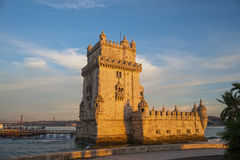 Belem tower at sunset in Lisbon, Portugal, Europe Royalty Free Stock Photos
