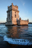 Belem Tower at Sunset in Lisbon Royalty Free Stock Photo