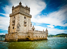 Belem Tower and Tagus river Royalty Free Stock Photo