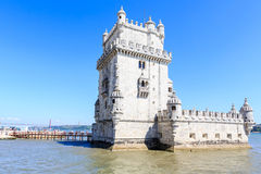 Belem Tower on the Tagus river city landmark in Lisbon Stock Image