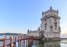 Belem Tower on the Tagus river city landmark in Lisbon Royalty Free Stock Photography