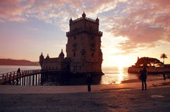 Belem Tower of Tagus river in the Lisbon at dawn Stock Photo