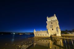 Belem Tower. On Tagus river, Lisbon, Portugal Royalty Free Stock Photo