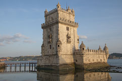 Belem tower on Tagus river, Lisbon, Portugal Royalty Free Stock Images