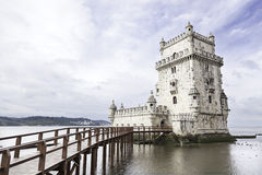 Belem tower on Tagus river Royalty Free Stock Photos