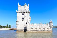 Belem Tower on the Tagus river in the morning, famous city landm Royalty Free Stock Photography