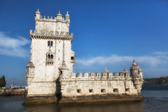 Belem Tower on the Tagus river in the morning, famous city landm Royalty Free Stock Image
