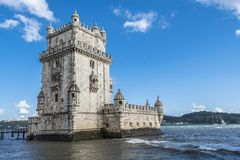 The Belem tower and the Tagus river stock photo