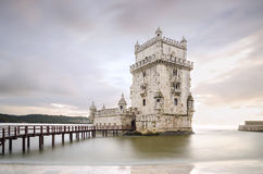 Belem Tower on the Tagus river in the sunset, famous city landma Royalty Free Stock Photography