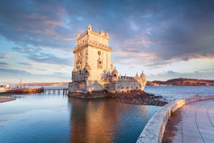 Belem Tower on the Tagus River. Stock Photo