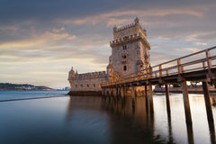 Belem Tower on the Tagus River. Royalty Free Stock Images