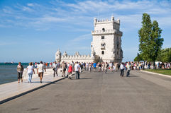 BELEM TOWER (Torre de Belem), Lisbon, Portugal. LISBON - SEPTEMBER 12: Belem Tower (Torre de Belem). Symbol of the city, listed in UNESCO World Heritage Site Royalty Free Stock Photo