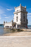 BELEM TOWER (Torre de Belem), Lisbon, Portugal. LISBON - SEPTEMBER 12: Belem Tower (Torre de Belem). Symbol of the city, listed in UNESCO World Heritage Site Royalty Free Stock Images
