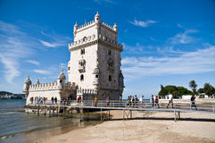 BELEM TOWER (Torre de Belem), Lisbon, Portugal. LISBON - SEPTEMBER 12: Belem Tower (Torre de Belem). Symbol of the city, listed in UNESCO World Heritage Site Stock Photos