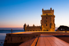 Belem tower - Torre de Belem at night in Lisbon, Portugal Stock Image