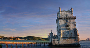 Belem tower under the pink sunset in close up view, Lisbon, Portugal Royalty Free Stock Photo