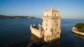 Belem wierza Lisbon przy ranku widok z lotu ptaka Portugalia Zdjęcie Stock