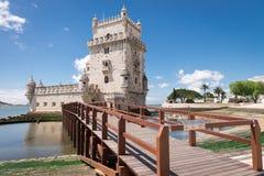 Belem wierza lokalizować na Tagus rzece, Lisbon, Fotografia Stock