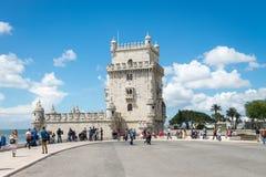 Belem wierza lokalizować na Tagus rzece, Lisbon, Portugalia Zdjęcia Stock