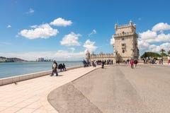 Belem wierza lokalizować na Tagus rzece w Lisbon Fotografia Royalty Free