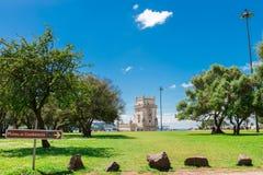 Belem wierza lokalizować na Tagus rzece w Lisbon Obraz Stock