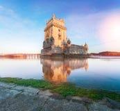 Belem wierza na Tagus rzece Zdjęcia Stock