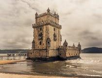 Belem wierza na Tagus rzece w Lisbon Fotografia Royalty Free