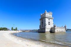 Belem wierza na Tagus rzece w ranku, sławny miasta landm Obrazy Royalty Free