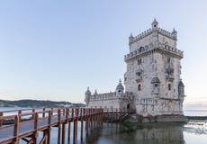 Belem wierza na Tagus rzece w ranku, sławny miasta landm Zdjęcia Royalty Free