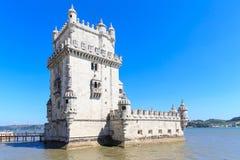 Belem wierza na Tagus rzece w ranku, sławny miasta landm Zdjęcie Stock