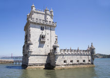 Belem wierza na Tagus rzece w ranku, sławny miasto punkt zwrotny w Lisbon Fotografia Stock