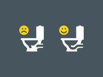 Belemmerd en unclogged toiletsymbool vector illustratie