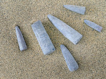Belemnites. Fossils on sand. Found on Jurassic Coast, Dorset, En Royalty Free Stock Photography