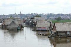 Belen村庄贫民窟在伊基托斯,亚马逊雨林的秘鲁 免版税库存照片