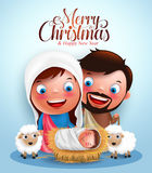 Belen with jesus born in manger, belen with joseph and mary vector characters. In christmas night with Merry Christmas greetings. Vector illustration Royalty Free Stock Images