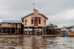 Belen neighborhood of Iquitos. IQUITOS, PERU - JULY 18, 2015: View of a church in partially floating shantytown in Belen neigbohood of Iquitos, Peru stock photo