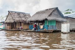 Belen neighborhood of Iquitos. IQUITOS, PERU - JULY 18, 2015: View of floating shantytown in Belen neigbohood of Iquitos, Peru royalty free stock photography